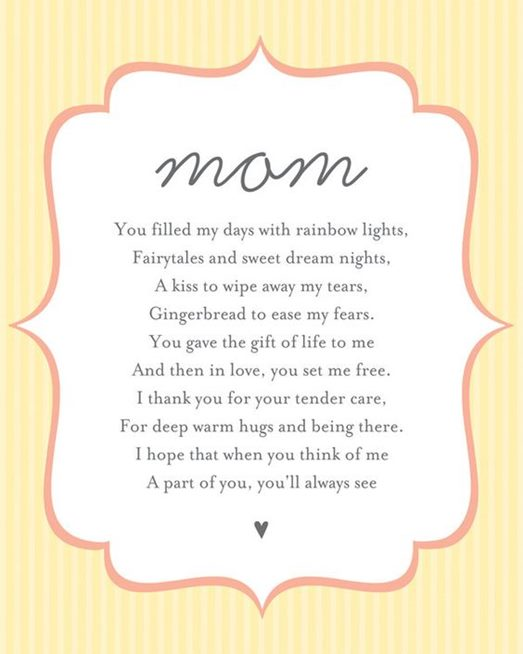short mothers day poems for from kids child in english happy