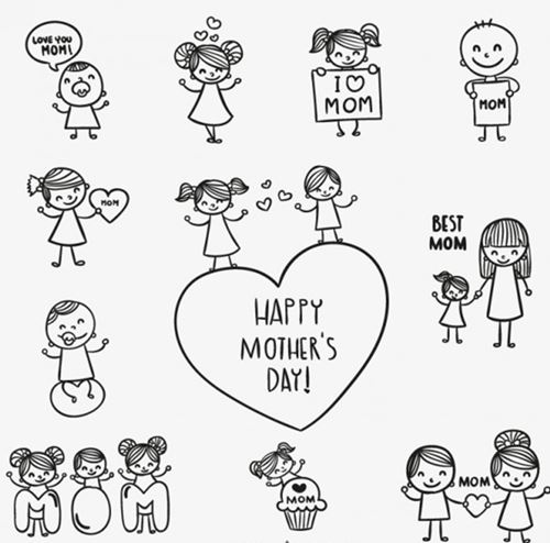 Free Mothers Day Coloring Pages Cards
