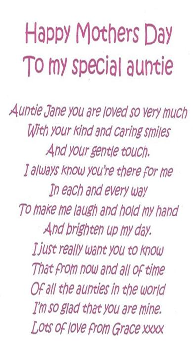 poem for aunt for mothers day 2017